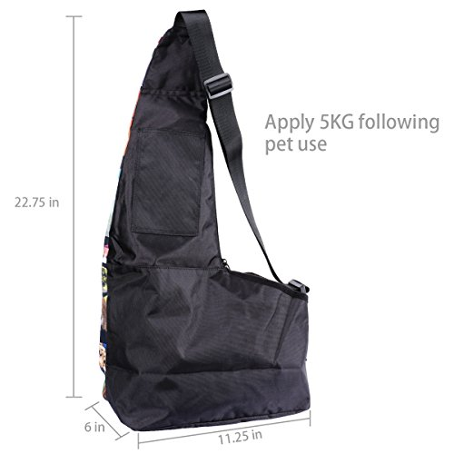 AUPET Hands-Free Pet Carrier, Comfortable Puppy Cats Small Dog Carriers Travel Bag, Oxford Outdoor Pets Carriers Sling Bag Dog Carrier with Adjustable Shoulder strap (Cute Dogs) PetBag-015