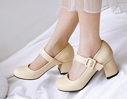 Aisun Donna Tondo Medio Elegante Taglio Alla Caviglia Stile Tacco Grosso Cinturino Alla Caviglia Con Cinturino Alla Caviglia, Scarpe Beige