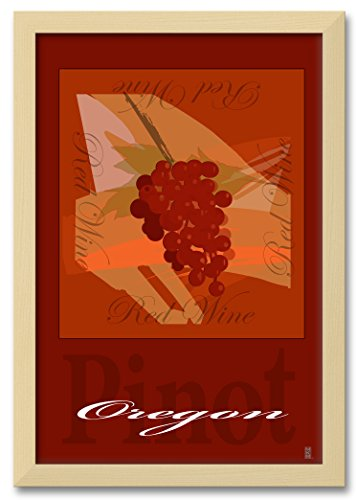 Northwest Art Mall Oregon Pinot Grapes Professionally Framed Extra-large Wall Decor by Mike Rangner. Print Size: 30
