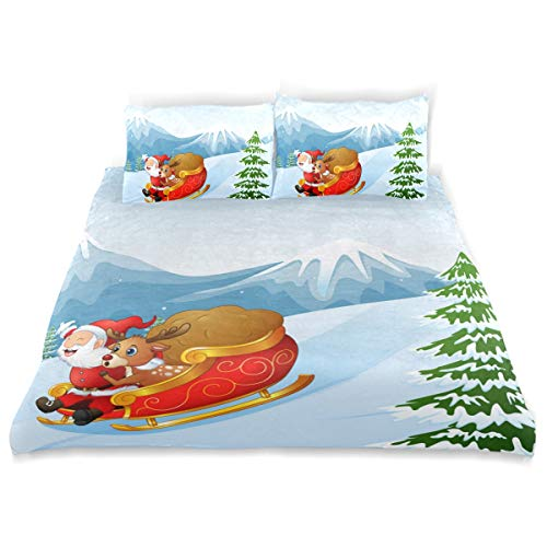 Amanda Billy Christmas Pajamas Old Man Bedding 3 Piece Set Bedding Set Full Set 66 × 90 in Bed Cover, 2 Pillowcase Pattern Soft Microfiber Bed Cover Set Children's Gift -