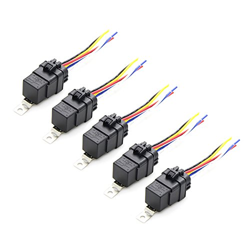 Automotive Waterproof Relay Switch Set Pack of 5 - Heavy Duty 12 AWG Wire Harness 12V DC 5-PIN Car Relays with Interlocking Socket Holder Block 12 Gauge Pigtails (12 Pin Wire Harness)