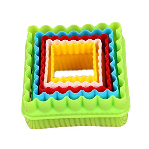 5 Pcs Square Shape Cookie Cutter Plastic Cake Fondant Sugarcraft Biscuits Mousse Mould Multi-size Fruit Vegetable Sandwich Cutter Clay Mold by SamGreatWorld