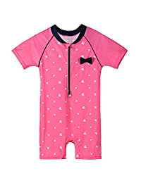 HUANQIUE Baby/Toddler Girl Swimsuit Rashguard Swimwear Short Sleeve One-Piece