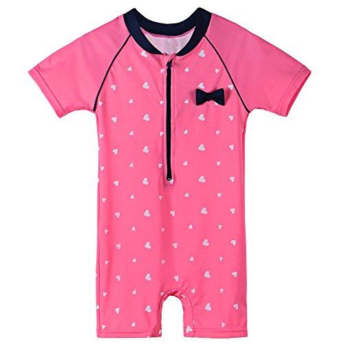 Full Swimming Costumes (HUANQIUE Baby Girls Swimsuit Rashguard Swimming Costumes One Piece Heart 2-3 Years)