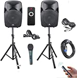 PRORECK Party 12 12-Inch 1000 Watts 2-Way Powered PA Speaker System Combo Set with Bluetooth/USB/SD Card Reader/FM Radio…