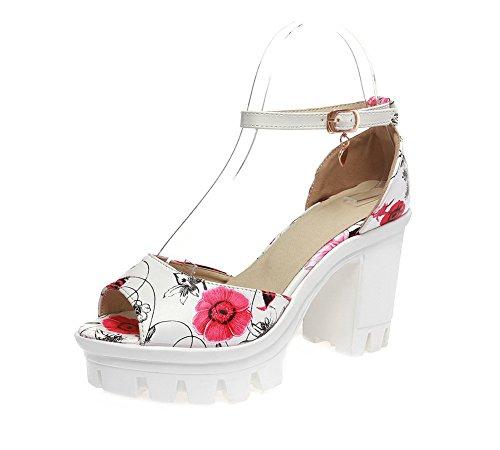 VogueZone009 Women Buckle PU Peep-Toe High-Heels Assorted Color Sandals, CCALP013341 Red