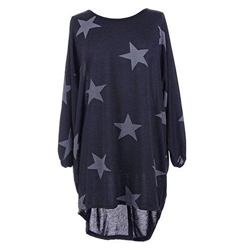DINGANG - Camiseta - Rayas - para mujer Noche Azul