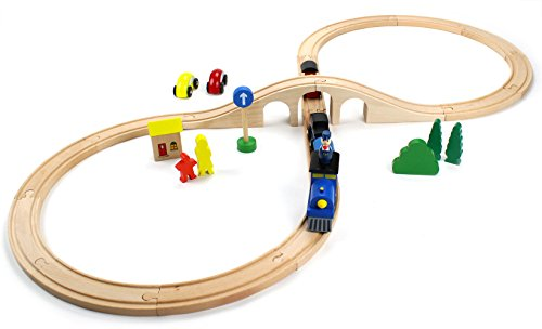 Wooden 30 Piece Figure Eight Train Set with Conductor Carl Train (Train Set Figures)