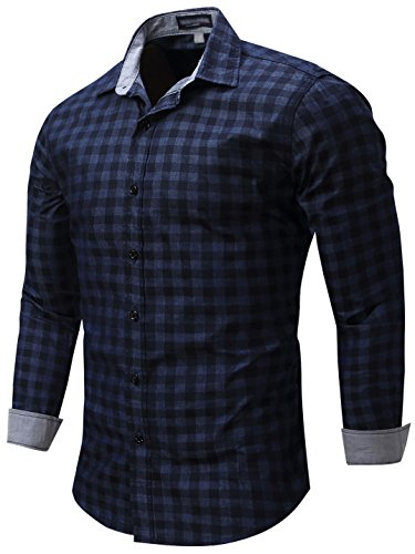 Neleus Men's Long Sleeve Button Down Denim Work Shirt,086,Dark Blue,US L,EUR (Button Down Jeans)
