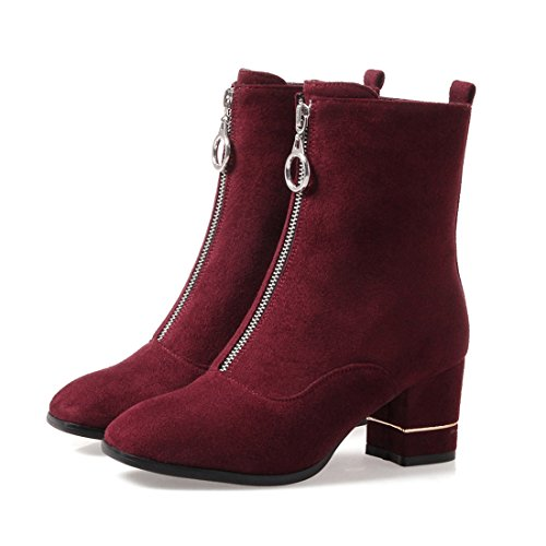 red Shoes Boots Classic Short Heel Mid Chunky Wine Zip Calf Mid Leather Agodor With Womens Nubuck O78HqnZw
