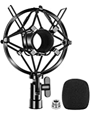 Etour ATR2100-USB Microphone Shock Mount with Pop Filter,[durable/more stable] Compatible with Samson Q2U and Audio-Technica AT2005 Mic Clip Holder Mount for Diameter 28mm-32mm Dynamic Mic