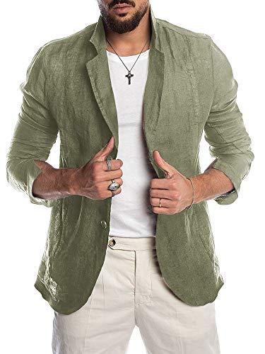 (Beotyshow Mens Summer Cotton Linen Lapel Blazer Oxford Shirts Outwear Casual Beach Long Sleeve Suit Jacket Plain Wedding Tailored Blazer Thin Suit Coat for Men Army Green )
