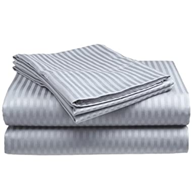 Full Size Silver 400 Thread Count 100% Cotton Sateen Dobby Stripe Sheet Set
