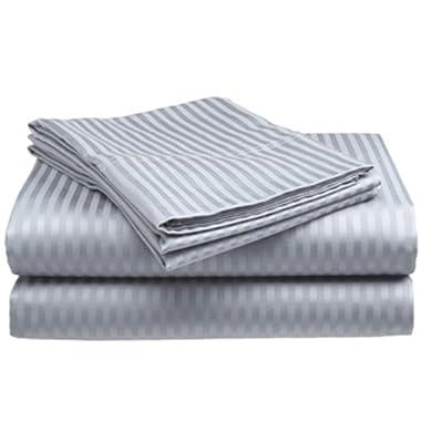 Full Size Silver 400 Thread Count 100% Cotton Sateen Dobby Stripe Sheet Set