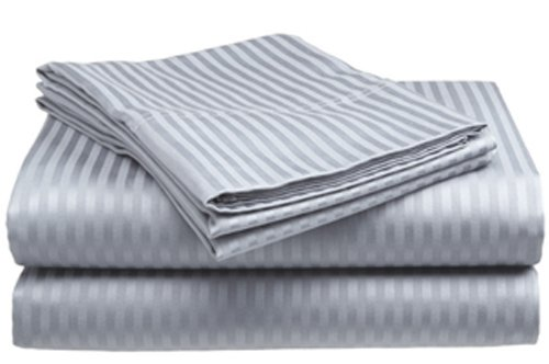 King Size Silver Classic Sateen Dobby Stripe Sheet Set
