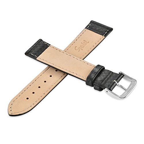Speidel Genuine Leather Watch Band Black with Carbon Fiber Men's Replacement Strap,20mm, Stainless Steel Metal Buckle Clasp, Watchband Fits Most Watch Brand by Speidel (Image #2)