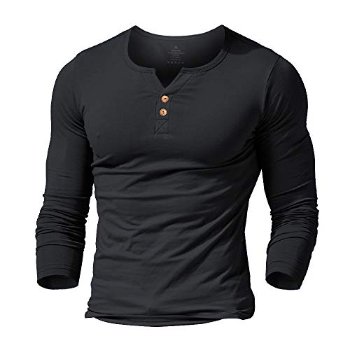 Slimbt Mens Long Sleeve Muscle Slim Fitted Cotton Henley T-Shirt with Buttons Black ()