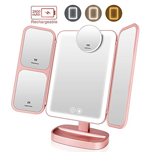 EASEHOLD Makeup Vanity Mirror Rechargeable with 3 Color 66 LEDs Lights Cosmetic -