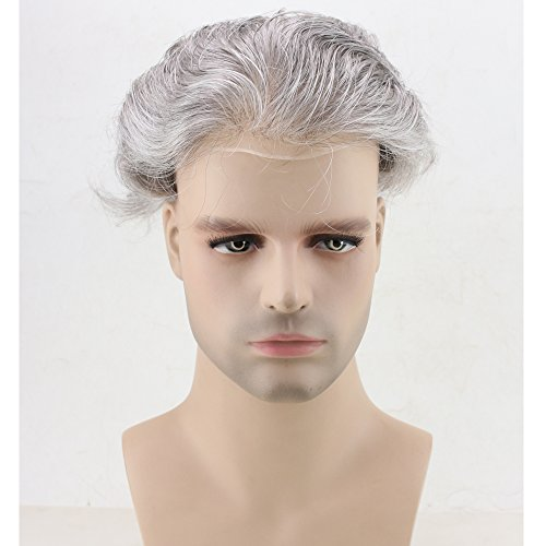 Dreambeauty Men's Toupee 10×8 inch Human Hair Thin Skin Hairpiece Hair Replacement System Monofilament Net Base for Men (20% #2 Mix 80% silver hair) by Dream Beauty (Image #2)