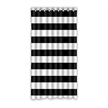 Black And White Horizontal Stripes Custom Window Curtains/Patio Door  Curtain/Panels/Treatment