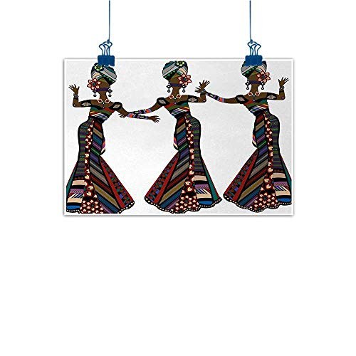 Sunset glow Decorative Art Print African Woman,Young Women in Stylish Native Costumes Carnival Festival Theme Dance Moves,Multicolor 28