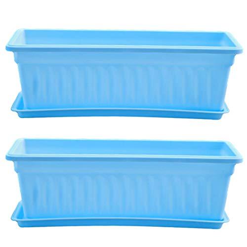 Lingxuinfo 2 Pack Rectangular Planter, Plastic Indoor