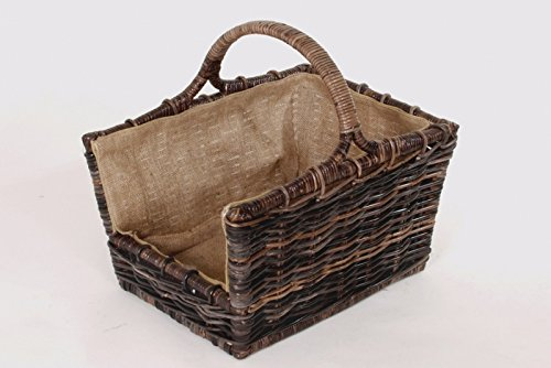 Wood handbarrow Krabu rattan with linen cloth