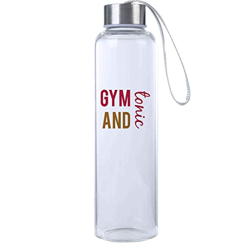 Mad 2 Order Gym and Tonic Inspirational Fitness Water Bottle, Workout Glass Bottle, BPA Free, Glass, Laugh Everywhere With This 20 oz. Trendy Water Bottle!