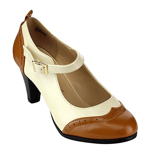 Chase & Chloe Dora-2 Women's Round Toe Two Tone Mary Jane Pumps (9, Tan/White)