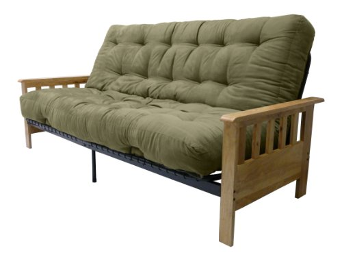 Portland 10-Inch Inner Spring Futon Sofa/Sleeper Bed, Full, Natural Arms Suede Olive Green - Premium Outlet Stores Portland
