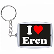 "Exclusive Gift Idea: Keyring ""I Love Eren"" in Black, a Great gift that comes from the Heart - Backpack pendant - love pendant - Keychains- Keyring- Christmas Gift"
