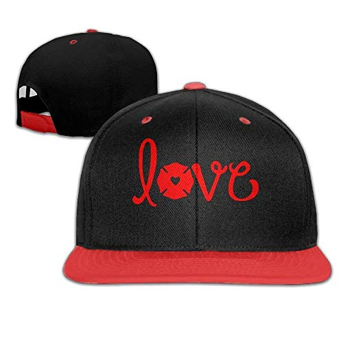 I Love My Firefighter Unisex Hip Hop Flat Brim Snapback Caps Plain Cotton Baseball Cap for (Fire Brim Cap)