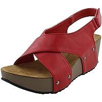 cb5848751 Cambridge Select Women s Open Toe Studded Crisscross Strappy Slingback Platform  Wedge Sandal