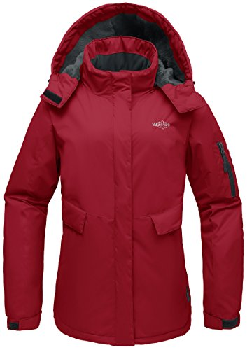r Ski Jacket Mountain Rain Resistant Coat Windproof Winter Thick Windcheater Hoodie for Riding(Red, Medium) ()