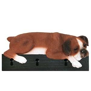 Red/White Natural Ears Boxer Dog Figurine Key Ring and Leash Holder Gift Wall Peg Hook Hanger Rack