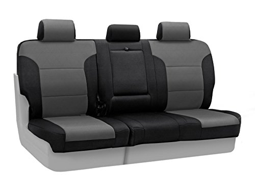 Coverking Rear 60/40 Bench Custom Fit Seat Cover for Select Toyota Prius Models - Spacer Mesh (Gray with Black Sides)