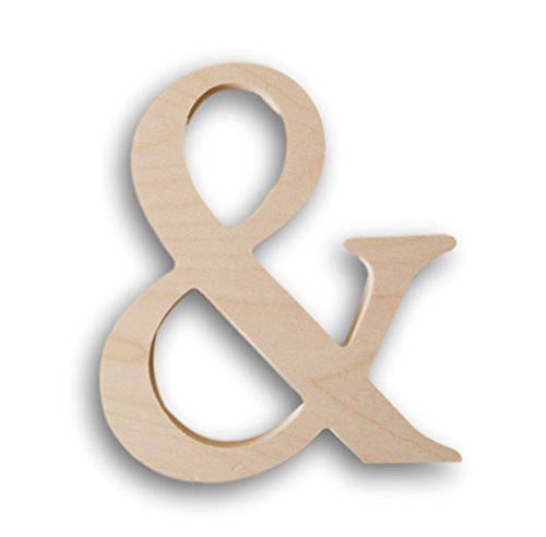 Decorative Wall Letters - Sturdy Wooden Decorative Alphabet Letters for Craft or Display - Chunky Ampersand
