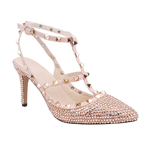 Toe Women Stiletto Champagne Studs Classic Metal Pointed Rhinestone Shoes YoShoe Luxury Heels Closed Sandals Wedding wZBxRznq4g