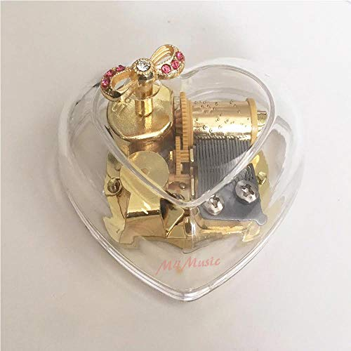 - M4MUSIC 18 Notes Clear Heart Shape Acrylic Box Gold Color Hand Crank Mechanical Music Box (Twinkle, Twinkle Little Star)