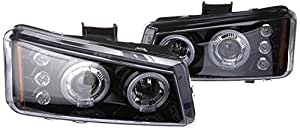 Spec-D Tuning 2LHP-SIV03G-TM Silverado Avalanche Glossy Black LED Dual Halo Projector Headlights