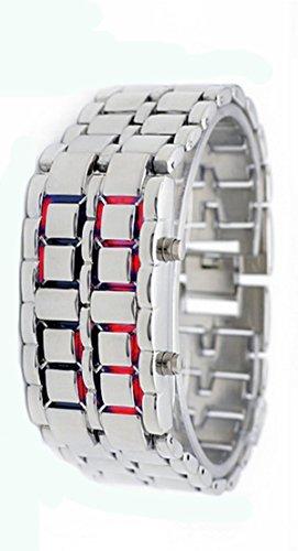 KingWinX Woman's Digital LED Watch, Red Light Silver Metal Strap by KingWinX