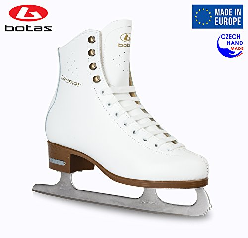Leather Lined Girls Figure Skates - Botas - Model: Dagmar/Made in Europe (Czech Republic) / Figure Ice Skates Women, Girls/Sabrina Blades/Color: White, Size: Adult 8.5