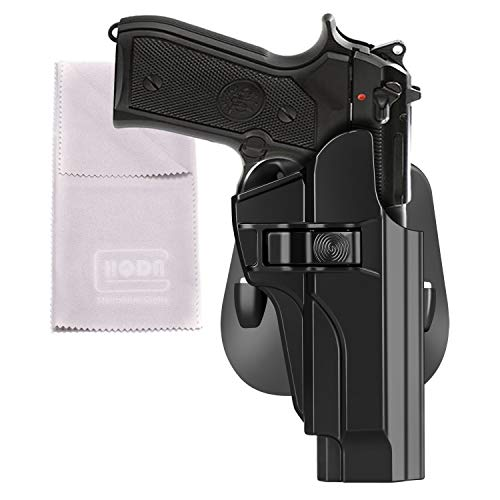 HQDA OWB Holster Fits Beretta 92 92fs INOX M9 M9_22 A1(BLK, RH) Tactical Index Finger Release Poymer Paddle Holster Safariland Carry Case, Hand-Gun Holder, Fast Draw 60°Adj. Cant, Right-Handed ()