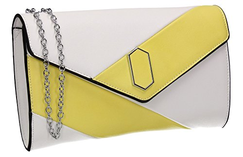 Womens Wedding Party Prom Bag Yellow Faux Sara Clutch Leather SWANKYSWANS Ladies Contrast qFAHT