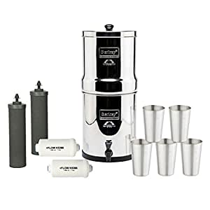 Travel Berkey Water Filter System w/ 2 Black Purifier (1.5 Gallons) Bundled w/ 1-set of Fluoride Filters (PF2) and five deluxe 12 oz Stainless Steel Cups