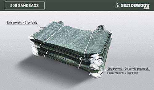 Sandbaggy - Empty Poly Sandbags W/ UV Protection - Size: 14'' x 26'' - Color: Green - Military Grade (500 Bags) (Renewed) by Sandbaggy (Image #1)