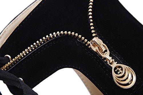 LINYI New Ankle Strap Lace-Up Stiletto Heels Waterproof Platform Open Toe Womens Sandal High Heels Black C3tLKDN