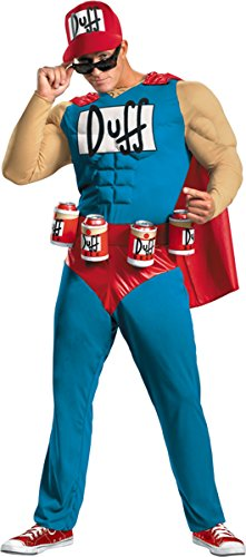 Duffman Classic Muscle Adult Costume - X-Large - Simpsons Duffman Classic Muscle Adult Mens Costumes