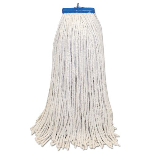 Boardwalk Mop Head, Lie-Flat Head, Cotton Fiber, 24-Oz., White - Includes 12 mop heads per case. - Yarn 12 Mop