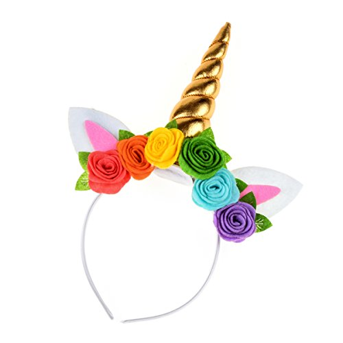 DDazzling Unicorn Headband Unicorn Party Unicorn Birthday Princess Birthday Fantasy Unicorn Unicorn Photo Prop (Gold)]()